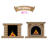 Fireplace icon set isolated on white. Burning brown brick fireplace with firewood Stock Images