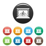 Fireplace icons set color vector. Fireplace icon. Simple illustration of fireplace vector icons set color isolated on white Royalty Free Stock Photo
