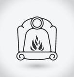 Fireplace Icon on white background. With shadow Stock Photography