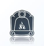 Fireplace Icon on white background. With shadow Royalty Free Stock Images