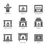 Fireplace icons set vector flat sign isolated on white background. Stove fireplace, biofireplaces, electric, wood. Burning, classic, modern, indoor, pellet Royalty Free Stock Photography