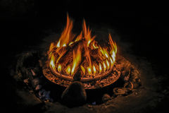 Fireplace ignited. On fire logs burning Royalty Free Stock Photography