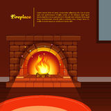 Fireplace image in room Stock Photos
