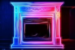 Fireplace in the interior with neon lines. Futuristic image of the fireplace in the interior with neon lines of red, blue and white colors Stock Photo