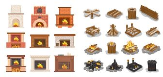 Fireplace Isolated Icons Set Logs Wooden Material. Vector. Furniture home decoration, stone and brick, ornaments and fire inside, burning wood beams vector illustration