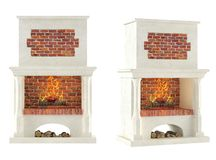 Fireplace isolated. At the white background Royalty Free Stock Image