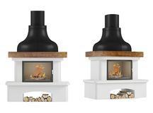 Fireplace isolated. At the white background Stock Photo