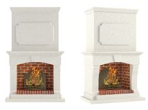 Fireplace isolated. At the white background Stock Image