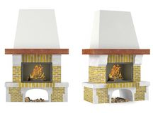 Fireplace isolated. At the white background Royalty Free Stock Photography