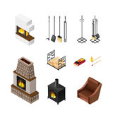 Fireplace Isometric Elements Set. Fireplace isolated accessories set with isometric images of poker set pieces of fuelwood matches and grate vector illustration Royalty Free Stock Photos