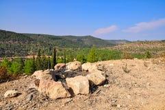 Fireplace on Jerusalem mountains. Fireplace on the hill, view on Jerusalem mountains Royalty Free Stock Photography