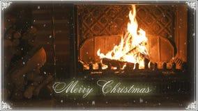 fireplace Kerstmis en sneeuw gelukwens stock video