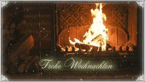fireplace Kerstmis en sneeuw gelukwens stock videobeelden