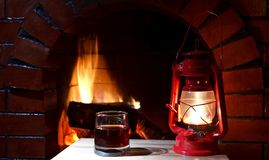 Fireplace lantern Stock Image