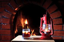 Fireplace lantern Royalty Free Stock Photos