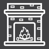 Fireplace line icon, Furniture and interior. Element, table vector graphics, a linear pattern on a black background, eps 10 Stock Photos