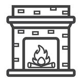 Fireplace line icon, Furniture and interior Royalty Free Stock Photography