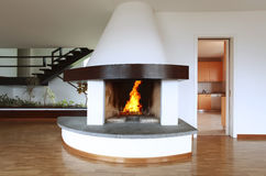 Fireplace in living room Royalty Free Stock Photos