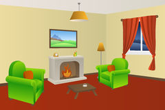 Fireplace living room beige armchair green red lamps window illustration. Vector Stock Photo