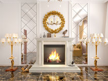 Fireplace in the living room. 3d illustration Stock Image