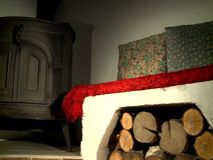 Fireplace in living room. Empty Living Room with Fireplace stock footage