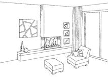 Fireplace living room interior graphic art black white sketch illustration royalty free illustration