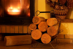 Fireplace and logs Stock Image