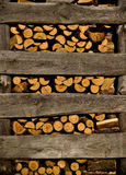 Fireplace logs background. Winter heap Stock Photos