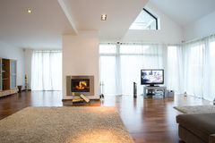 Fireplace in lounge Stock Photography