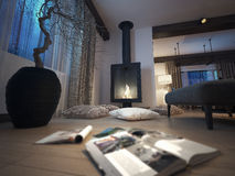 Fireplace, lounge room. 3d image Royalty Free Stock Images