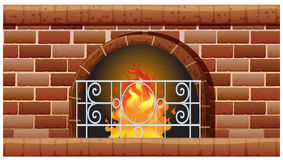 Fireplace made of bricks. Illustration Stock Photography