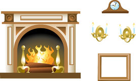 Fireplace & Mantel Props Royalty Free Stock Photography