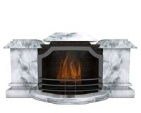 Fireplace. Marble fireplace with a fire inside, on a white background Stock Photography
