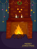 Fireplace for Merry Christmas holiday greeting card background Royalty Free Stock Image
