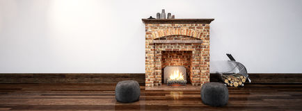 Fireplace in minimalist design interior. Fireplace of old bricks in minimalist design interior with white wall and wooden floor. Copy space. 3d Rendering Royalty Free Stock Photos