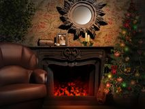 Fireplace with a mirror and Christmas tree Royalty Free Stock Images