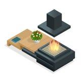 Fireplace modern design. Flat 3d isometric illustration. Royalty Free Stock Images