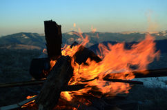 Fireplace in the montains at night Stock Images