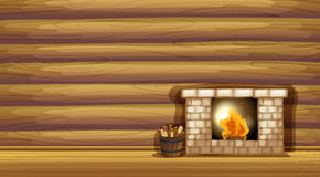 A fireplace near the wooden wall. Illustration of a fireplace near the wooden wall Stock Photos