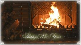 fireplace Nieuwjaar en sneeuw gelukwens stock videobeelden