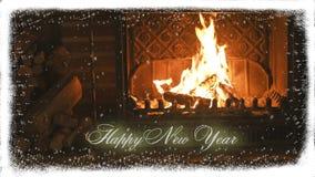fireplace Nieuwjaar en sneeuw gelukwens stock footage
