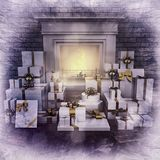 Fireplace at night with presents on wooden floor. Square Royalty Free Stock Photos