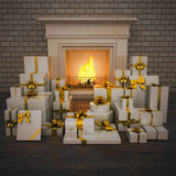 Fireplace at night with presents on wooden floor. Square Royalty Free Stock Images