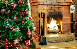 Fireplace On Christmas Eve Stock Images