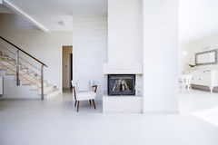 The fireplace in the open space Royalty Free Stock Photo