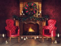 Fireplace with ornaments and armchairs royalty free illustration
