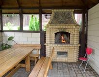 Fireplace outdoors stock photos