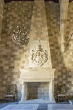 Fireplace in the Palace in Rhodes Old Town. Palace of the Grand Master of the Knights of Rhodes , also known as the Kastello , is a medieval castle in the city Royalty Free Stock Image