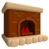 Fireplace in plasticine or clay style. 3d illustration Royalty Free Stock Photos