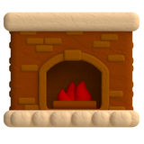 Fireplace in plasticine or clay style Stock Photo